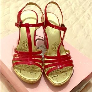 Steve Madden red patent strappy sandals